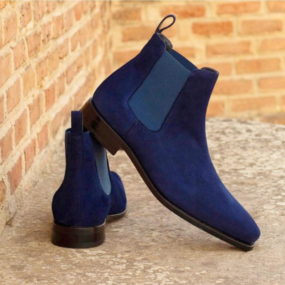 Marine Calf Suede Chelsea Boots