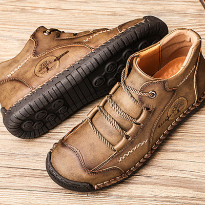 Men's Printed Leather Comfortable Flat Shoes