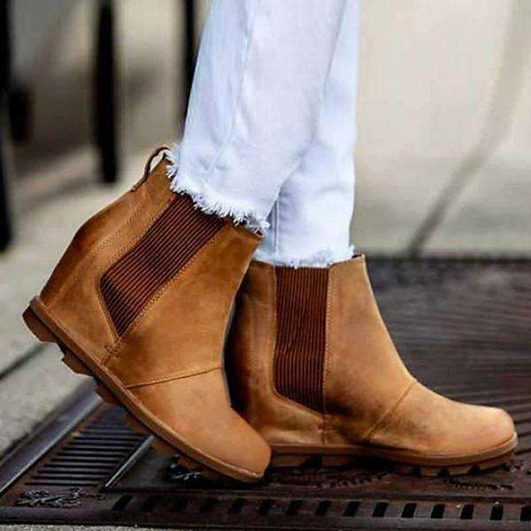 Women's Wedge Chelsea Boots Comfortable Ankle Wedge Boots