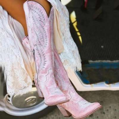 Rose Embroidered Ladies High Boots