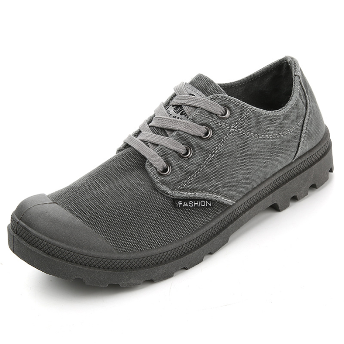 Plain Lace-Up Front Round Toe Platform Canvas Loafers