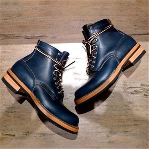 Men Handmade Navy Blue Lace Up Combat Boots Dress Boots
