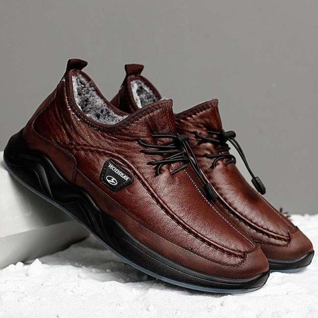Men Plush Lining Warm Elastic Lace Non Slip Casual  Shoes