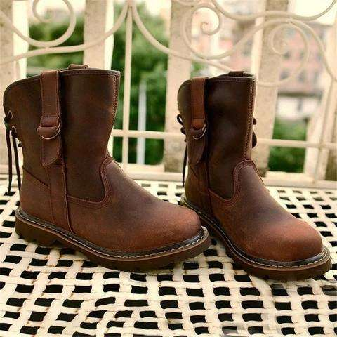 *Faux Leather Lace-Up All Season Low Heel Boots
