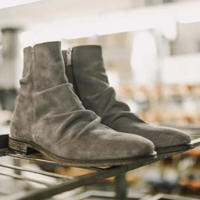 Calf-Leather Crinkles Handcrafted Boots