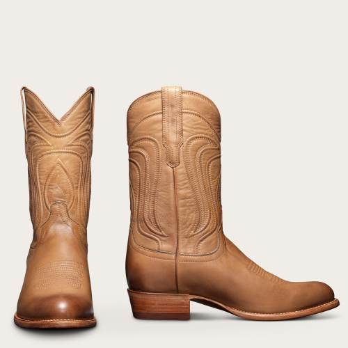 Men's Vintage Leather Timeless Cowboy Angled Heel Boots