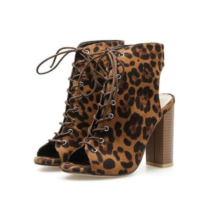 Cheetos Print Pee-toe Lace-up High Heel Shoes