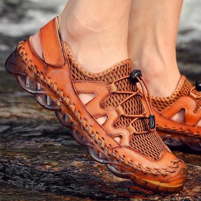 Men Rubber Toe Cap Mesh Splicing Slippers Outdoor Water Shoes