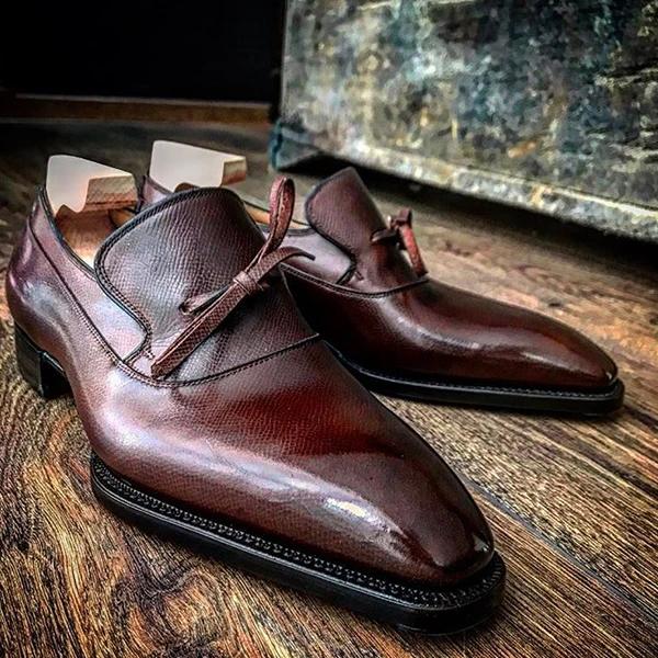 Handmade Men's Leather Bowknot Slip-On Loafers