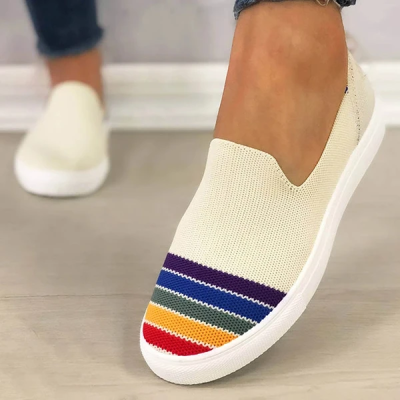Women Comfy Flyknit Fabric Hit Color Rainbow Slip On Platform Loafers