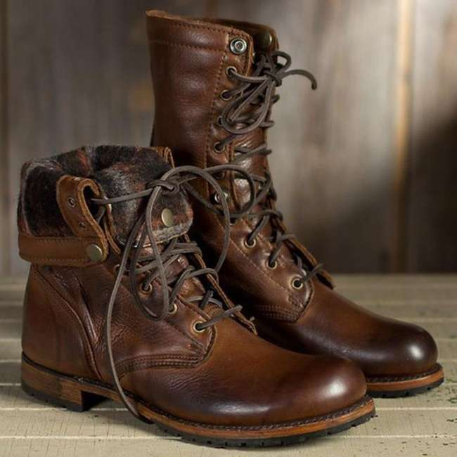 *Men's Fashion High Quality Martin Boots Leather Short Martin British Casual Boots