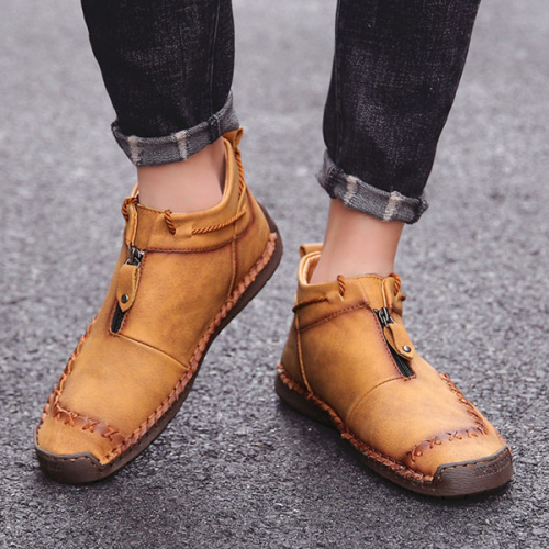 Men's High-top Hand-stitch Zipper Flat Shoes
