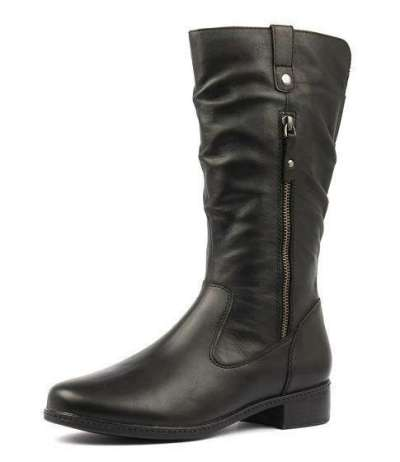 Women Large Size Mid Calf Zipper Chunky Heel Riding Boots