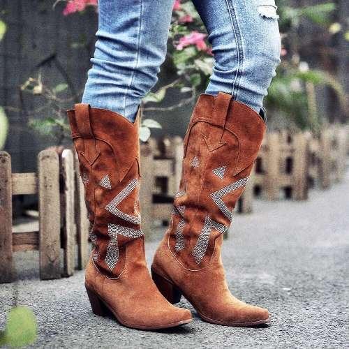 Women Plus Size Fashion Wide Calf Chunky Heel Cowboy Boots