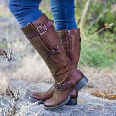 Flat Heel Women Round Toe Mid-Calf Boots