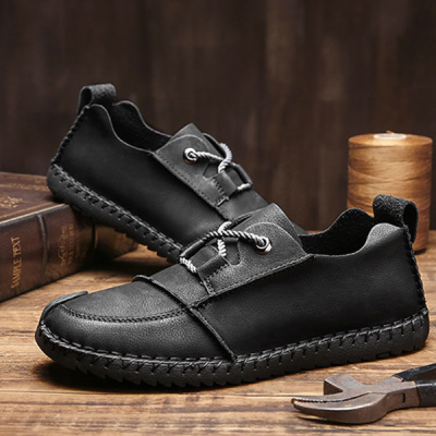 Men's Handmade Matte Leather Flat Shoes