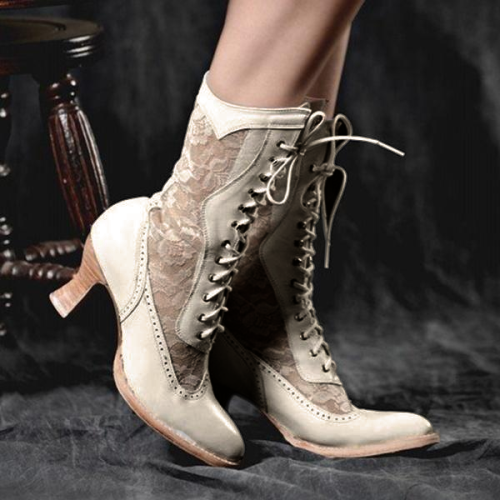 Sexy Lace-Up Front Round Toe Patchwork Vintage Boots
