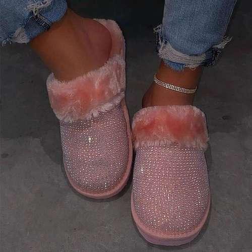 Women Cozy Fur Bling Rhinestones Slip on Indoor Shoes Slippers