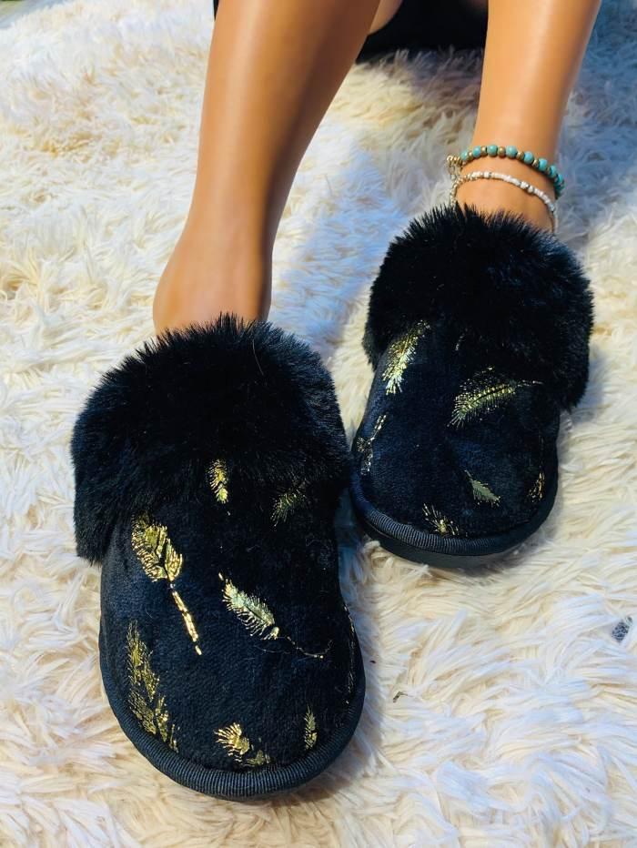 Women Fur Bling Slip on Indoor Slippers