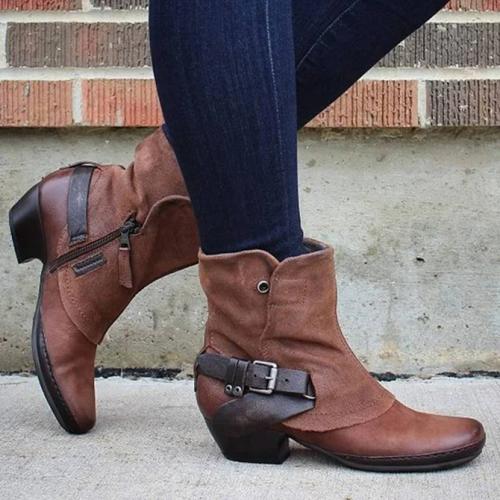 Women's Block Medium Heel Ankle Boot