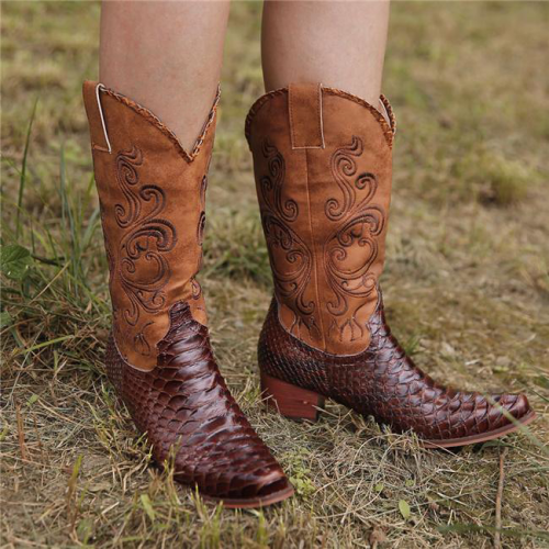 Artificial Leather Embroidered Boots