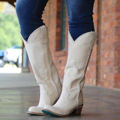 Vintage Cowgirl Boots Holiday Slip On Long Boots