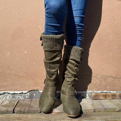 NEW! Women's Suede Flat Heel Mid-Calf Buckle Zipper shoes