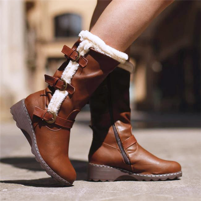 Women Casual Buckle Decor Hit Colors Zipper Cotton Mid-calf Boots