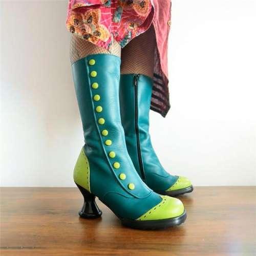 Trendy Shaped Heel Patchwork Side Zipper Western Boots