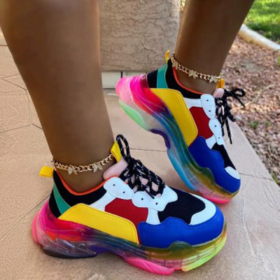 Multicolor Cute Air Cushion Lace-Up Sneakers