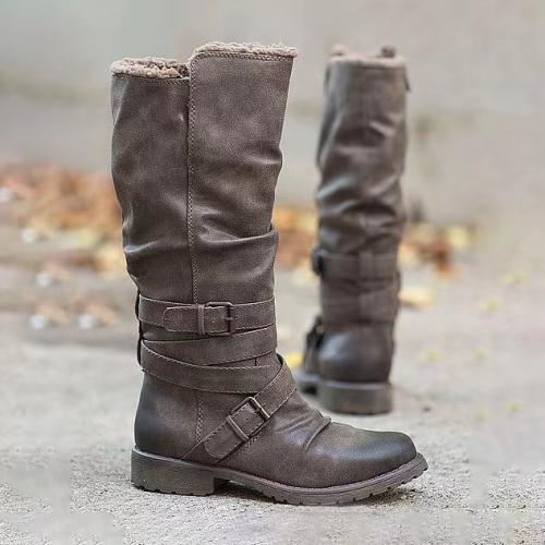 Women's Vintage Buckle  Wide Calf Boots