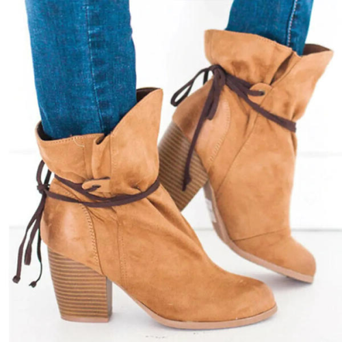 NEW! Women's Suede Chunky Heel Martin Boots Round Toe With Lace-up shoes