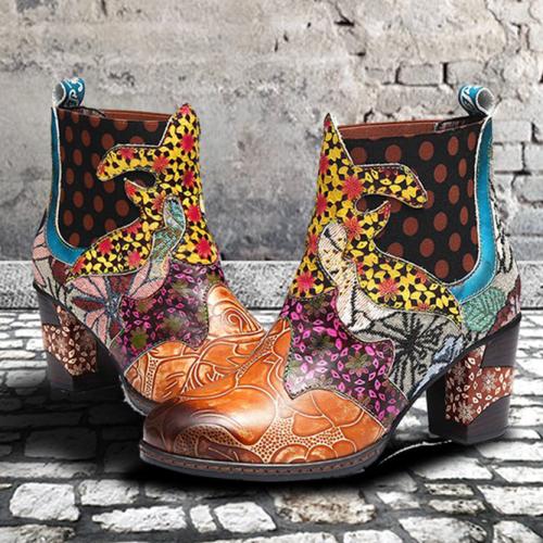 Women's Handmade Stitching Retro Thick Heel Boots