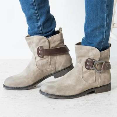 Buckle Outdoor All Season Artificial Leather Boots