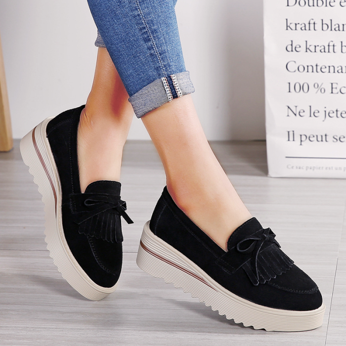 Platform Leather Suede Tassel Without Lace Loafers Shoes