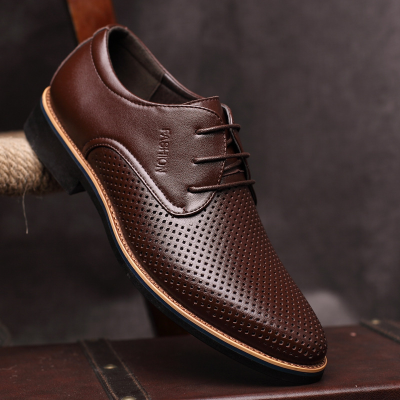 Men's Dress Shoes Breathable Lacing Pointed Toe Formal Shoes