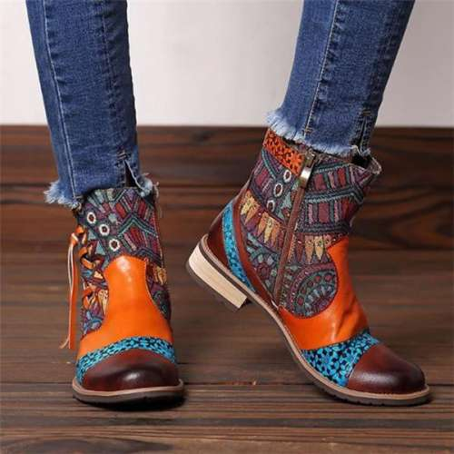Leather Jacquard Boots