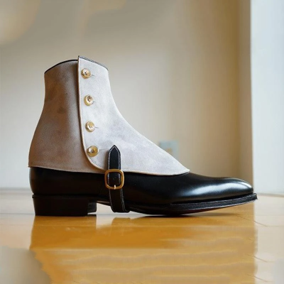 Vintage Leather Buckle Button Men's Boots