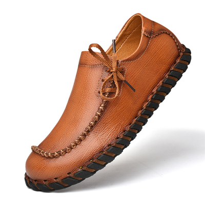 Men Cow Leather Non Slip Hand Stitching Soft Sole Casual Shoes