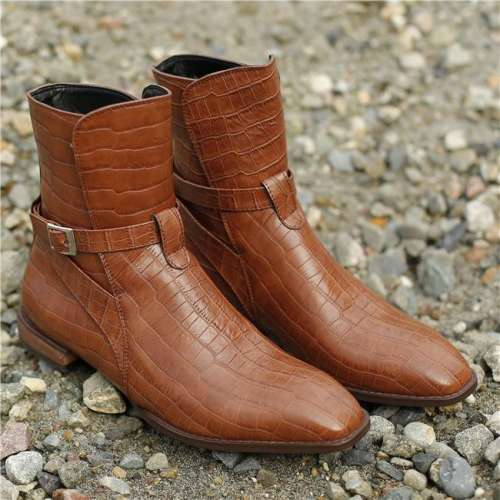 Men's Vintage Crocodile Pattern Leather Boots