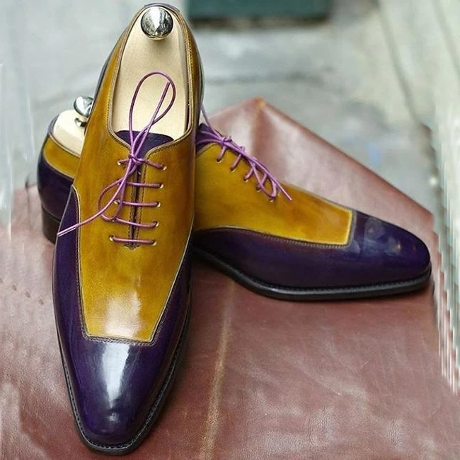 Handmade Color Block Lace-Up Men's Dress Shoes