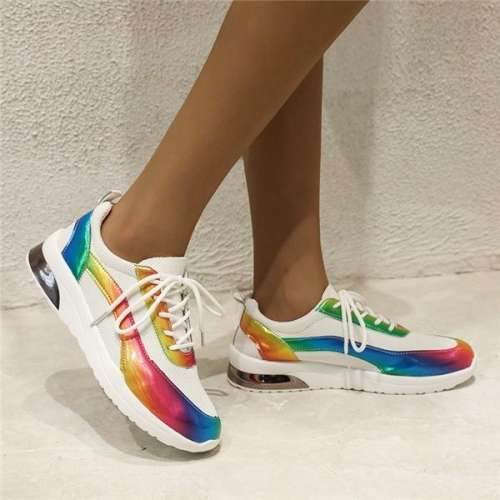 Fashion Breathable Laser Color Lace-up Women's Shoes