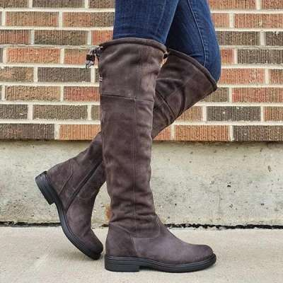Women'S Round Head Zipper Boots