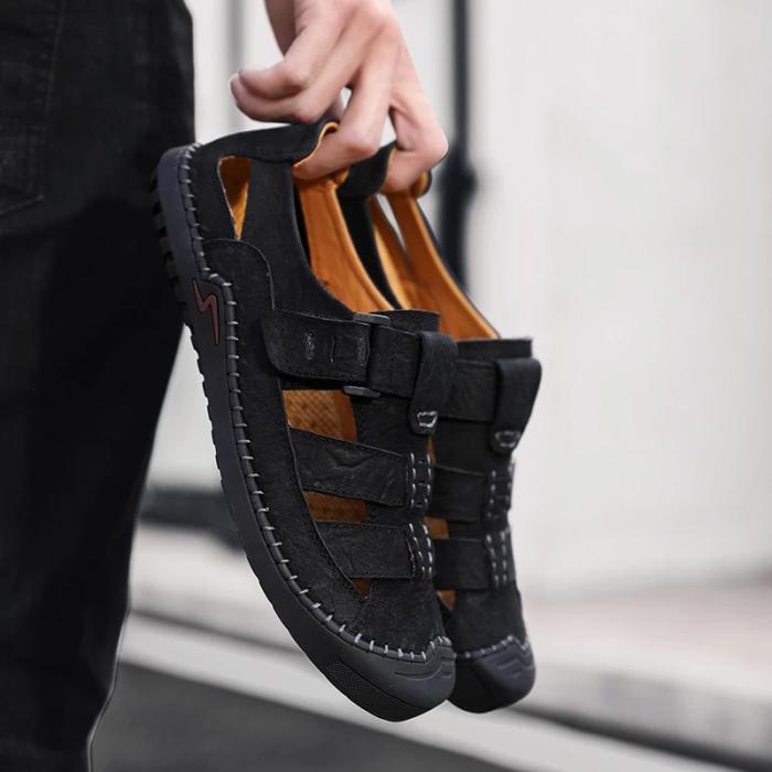 Men's Cow Leather Hook Loop Sandals