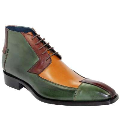 Men'S Italian Shoes Calf-Skin Leather Brown Tri-Tone Boots