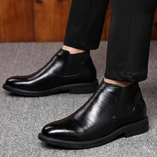 Men's Handmade PU Leather Chelsea Boots