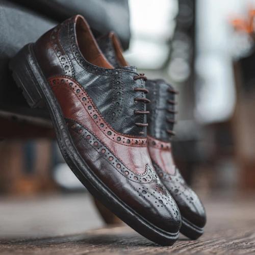 Vintage Brock Engraved Color Block Oxford Leather Shoes