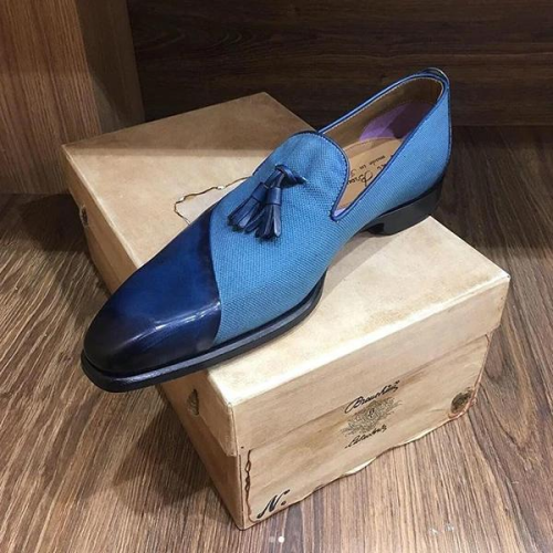 Italy Handmade Men's Leather/Canvas Loafers