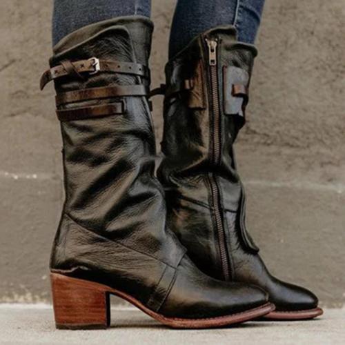Women Buckle Belt Chunky Heel Motorcycle Boots
