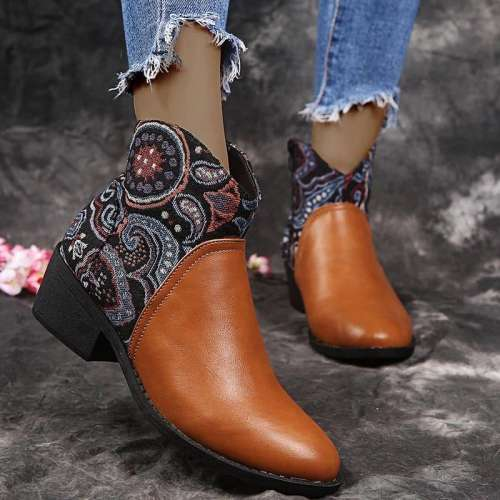 Women Stylish Characteristic Pattern Split Joint Mixed Colors Boots
